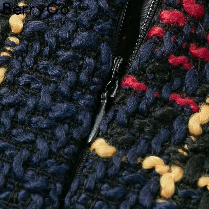BerryGo элегантное твидовый в клетку женское платье зимнее офисное женское теплое рождественское платье с длинными рукавами винтажное сексуальное осеннее платье festa
