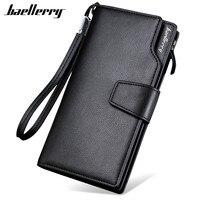 Hot New Fashion Design Black Genuine Leather Men Wallets Long Zipper Brown Purse Men Clutch Carteira