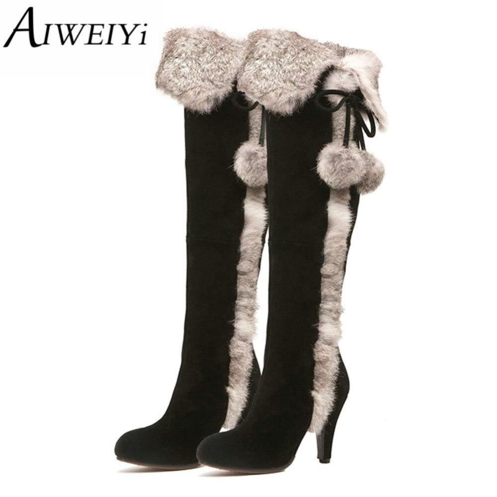 ФОТО AIWEIYi New Winter Genuine Leather Women Shoes Warm Fur Winter High Heels Knee High Boots Black Dress Pumps