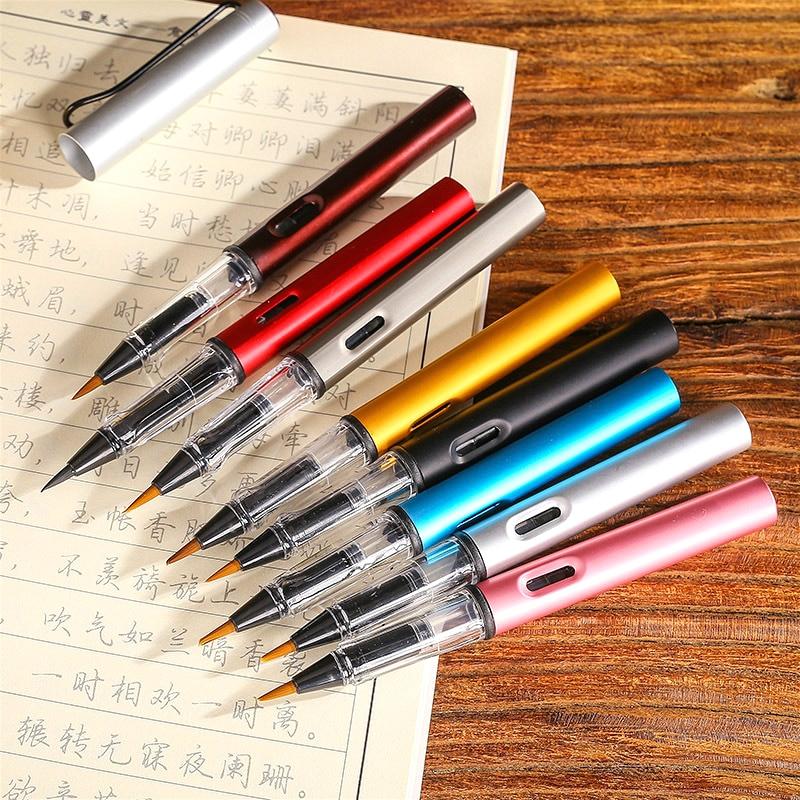 Hot Selling Modern Design Aluminum New Type Soft Brush Pen 8 Colors Optional Portable New Calligraphy Pen Writing Brushes 2pcs