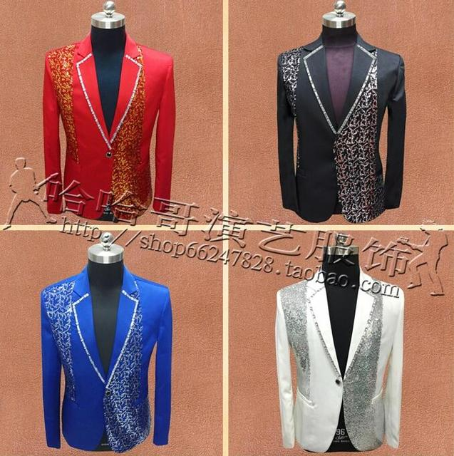 Stage Singers Clothes Men Suits Designs Masculino Homme Terno Jacket Men Sequins Blazer Dance Star Style Dress Punk Red Blue