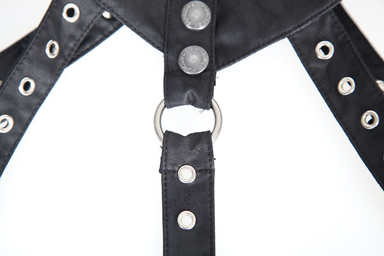 Punk Gothic Black PU Leather Collar Strap with Buckle Cool Women Collar Strap With Holes Coffee Cappa