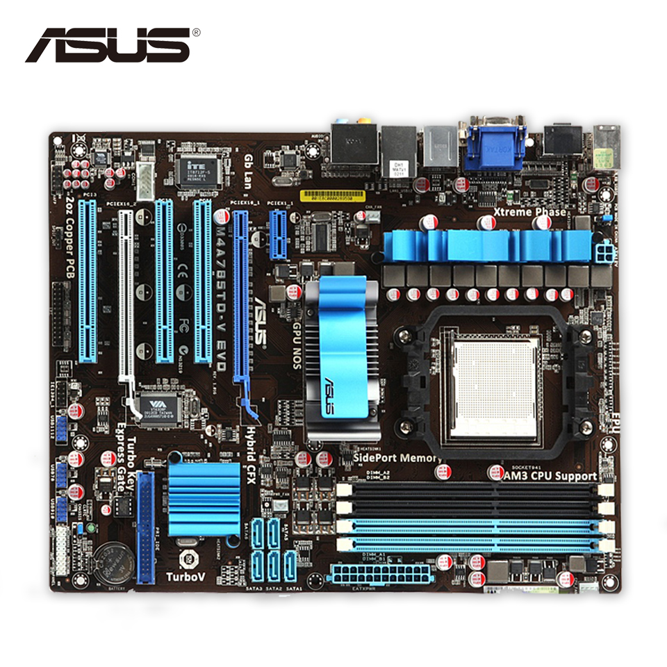 Asus M4A785TD-V EVO Desktop Motherboard 785G Socket AM3 DDR3 SATA2 USB2.0 ATX original used desktop motherboard for asus m4a88t m a88 support socket am3 4 ddr3 support 16g 6 sata2 uatx