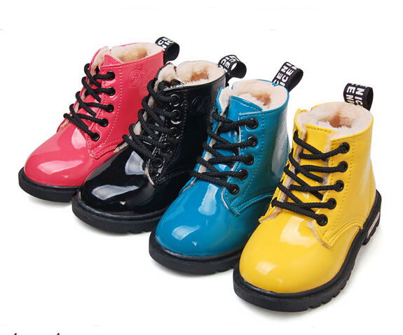 2015 Winter Children Martin boots Keep Warm Kids Plus fur Snow PU leather Ankle Boys Girls shoes Rain - SAR store