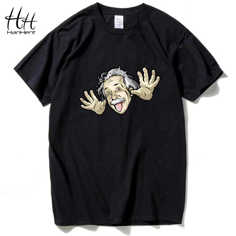 HanHent Cómico Albert Einstein camiseta Hombres 2017 Verano Divertido algodón Top camisetas manga Corta de The Big Bang Theory T-shirt TA0473