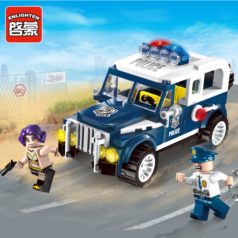ФОТО enlighten city swat police series hunted escape chase prowl  car assemble model building blocks minifigures kids toys gifts