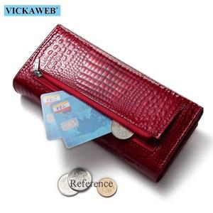 Image 5 - VICKAWEB Fashion Long Wallet Women Genuine Leather Alligator Womens Wallets And Purses Lady Hasp & Zipper Standar Wallet Female