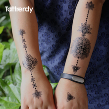 Black Women Henna Temporary Tattoo Stickers Lace Large Indian Flower Sexy Arm Shoulder Flash Tattoos Fake Waterproof Hand J019B