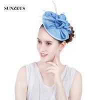 Linen Flowers Bridal Hats 2018 Light Blue Evening Hats for Women Feathers Fascinators with Headband SH70
