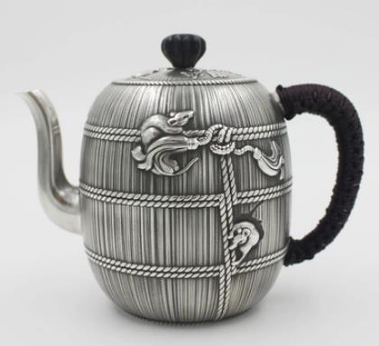 S999 999 silver teapot Chinese style vintage bumper grain harvest craft artwareS999 999 silver teapot Chinese style vintage bumper grain harvest craft artware