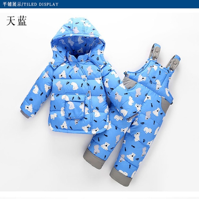 2017 winter Children clothing set Russia baby Girl Ski suit sets Boy's Outdoor sport Kids down coats Jackets+trousers -30degree