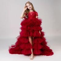 Новое Детское праздничное платье на день рождения и свадьбу для девочек детское фатиновое кружевное бальное платье для девочек подростков,