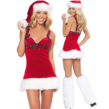2017 high quality Sexy Red tape Christmas Dress Sweetheart Miss Xmas Santa Cosplays Costumes Sexy Women Christmas Dresses