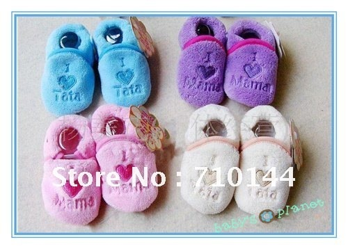 brand new free shipping infant baby slippers baby shoesfoot wear socks i love mum dad hotsale