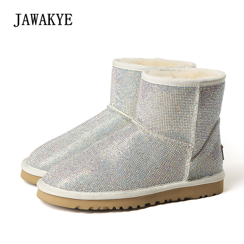 Newest Snow Boots Women Round Toe Glittering Rhinestone Diamond Woolen Fur Ankle Boots Winter For Women women winter flats genuine leather round toe match colored buckle rhinestone fur fashion ankle snow boots size 35 39 sxq0826