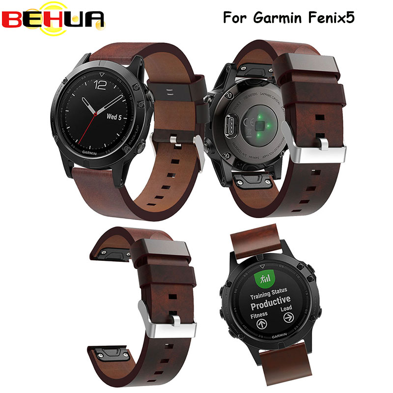 Sport Watch Bracelet Watchbands Genuine Leather Strap Watch Band Watch Accessories Wristband For Garmin Fenix 5 Watchband 22mm