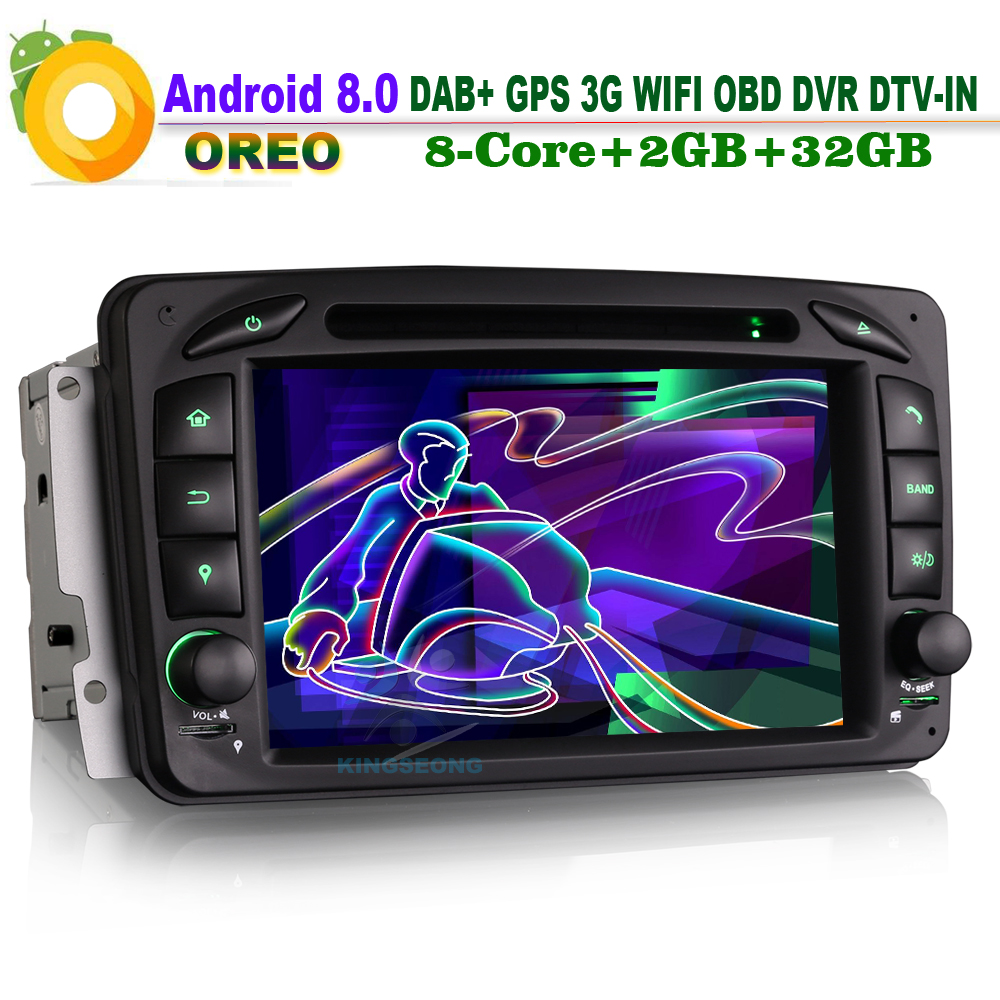 Android 8.0 Car Stereo WiFi 3G OBD CD DVR GPS <font><b>Radio</b></font> Sat <font><b>Navi</b></font> Car Multimedia Player FOR Mercedes <font><b>Benz</b></font> C-Class <font><b>W203</b></font> S203 DAB+ BT image