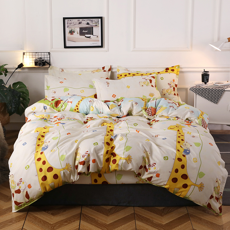 Yellow Giraffe Pattern 4Pcs Bedding Set King Size Bed Linens Reactive Printing Duvet Cover Set Pastoral Style Home Bed Sheet SetYellow Giraffe Pattern 4Pcs Bedding Set King Size Bed Linens Reactive Printing Duvet Cover Set Pastoral Style Home Bed Sheet Set