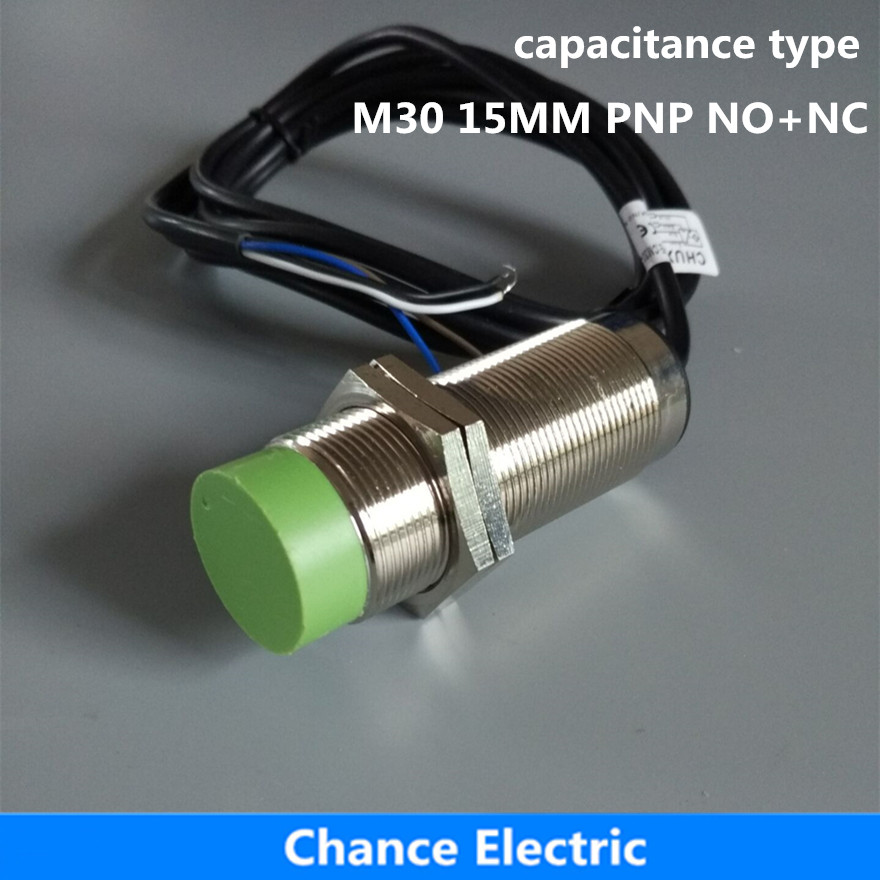 capacitance type proximity sensor M30 15mm detect distance PNP NO+NC DC capacitive proximity switch (CM30-15-DPC) 5pcs proximity switch inductive sensor dc6 36v 3wire no pnp dc 300ma detection distance 2mm m8 lj8a3 2 z by
