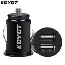 KOYOT Mini USB Car Charger For Mobile Phone Tablet GPS 12V 2.1A Dual USB Car Phone Charger Adapter in Car for iPhone X Samsung(China)