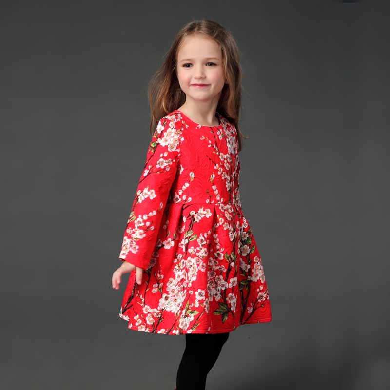 Winter Autumn Family look clothes floral thick flano lining dress infantile kids girl mom formal party mother and daughter dress checcivan family mom daughter short t shirt 2017 autumn mother