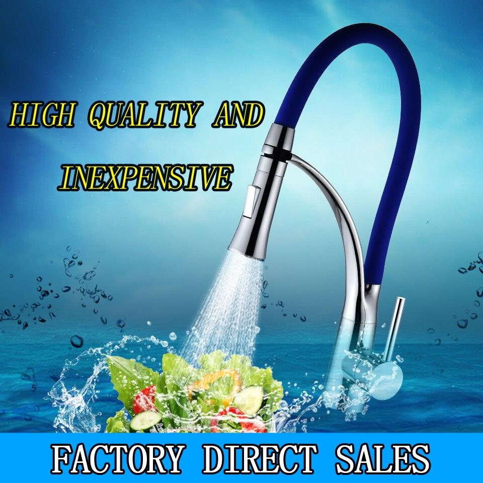 LED Color Kitchen Faucet Rubber Design Chrome Mixer Faucet for ...