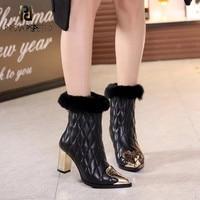 Prova perfetto Fashion Ladies Shoes Gold Metal Martin Boots Women Ankle Short Bota Chunky Heel Women Shoes Fool Warm De Mujer
