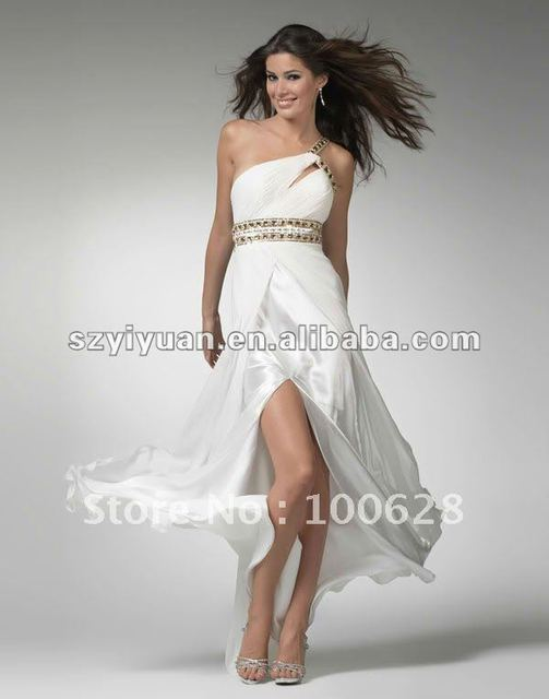 2012 Hot Sale White Long Beaded Cocktail Evening Prom Dress