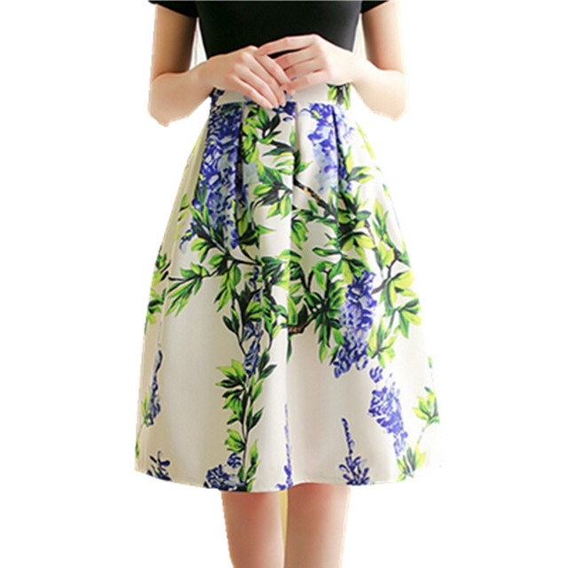 3d5cfb08bf 2016 Summer Women Vintage Floral Print High Waist Midi Skirt Ladies Fashion  Pattern Middle Long saia femininas Plus Size 5 Color