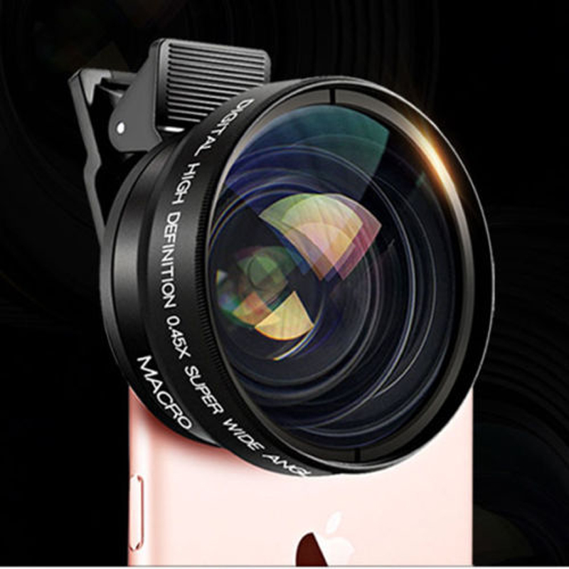Clip-on HD 37MM 0.45x Super Wide Angle 12.5x Macro Camera Lens for HTC ONE M9 M8 M7 HTC 10 EVO LG G4 G5 G6 SE V10 V20 G4 G5 mini image