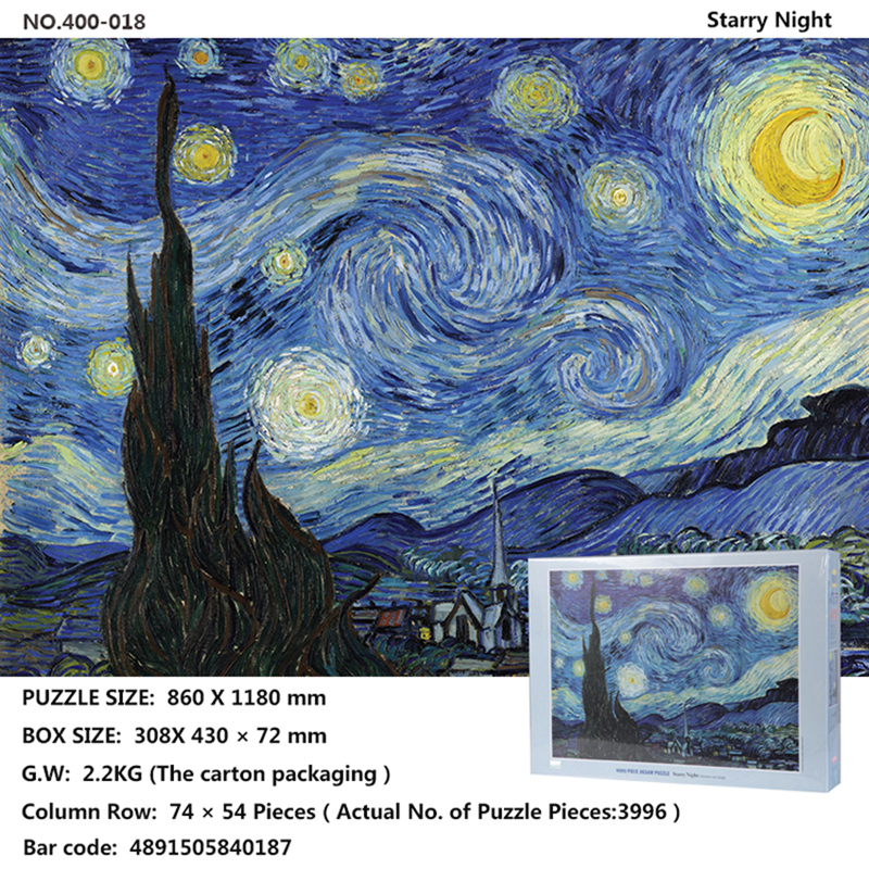 Puzzle jigsaw puzzle, toy jigsaw puzzle gift 4000/1000/mini1000puzzle paintings Starry Night specification selection puzzle 1000 горный бык 29745