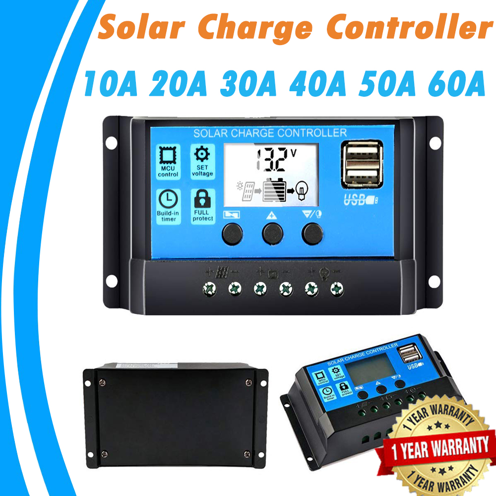 Solar Charger Controller 60A 50A 40A 30A 20A 10A 12V 24V Battery Charger LCD Dual USB Solar Panel Regulator For Max 50V PV Input