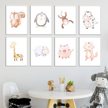 Hippo Giraffe Elephant Pig Cow penguin Nursery Wall Art Canvas Painting Nordic Poster Prints Pictures Kids Room Decor