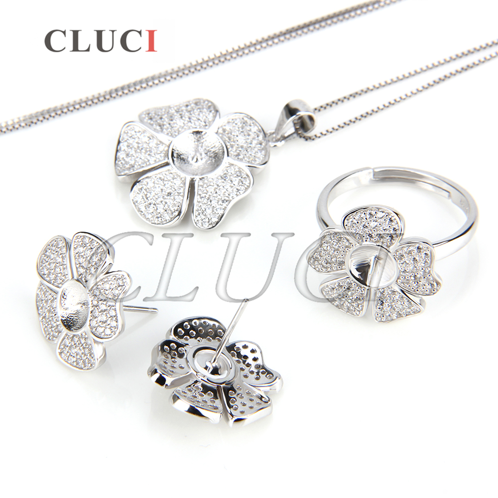 CLUCI Beautiful Flower shape 925 sterling silver set fittings, pendant fitting, ring fitting and 1 pair of earring fittings pair of stylish flower shape and lace embellished knitted boot cuffs for women