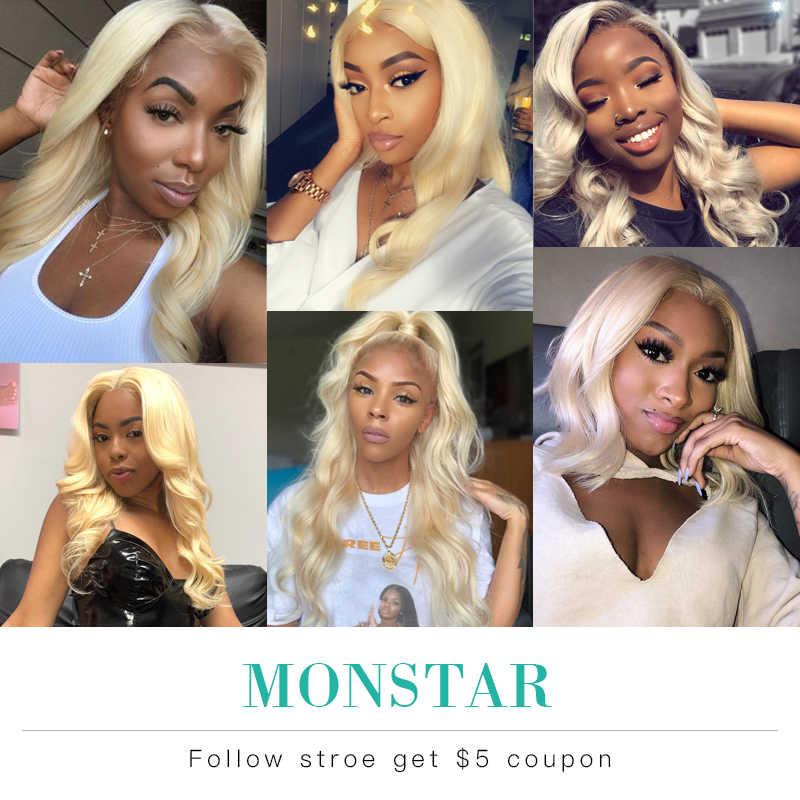 Monstar 613 блонд пряди с закрытием бразильские объемные волнистые волосы пряди с закрытием Remy человеческие волосы плетение 8-36 дюймов пучок