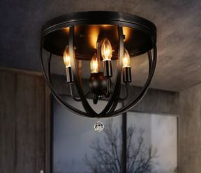 American vintage bar counter lamps vintage loft stair balcony iron ceiling light