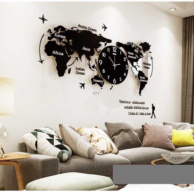 Large 3D World Map Wall Clocks Modern Design Glow In Dark Hanging Silent Wall Clocks Mute Acrylic Unique Wall Clocks