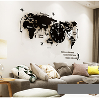 Large 3D World Map Wall Clocks Modern Design Glow In Dark Hanging Silent Wall Clocks Mute Acrylic Unique Wall Clocks
