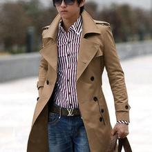 Customizable ! Khaki black grey mens double breasted coat trench