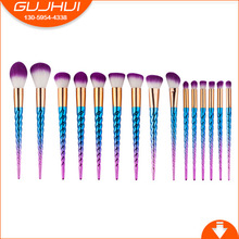 15 Cosmetic Brushes, Unicorn Screw Threads, Makeup Beauty Tools, GUJHUI, a Brush