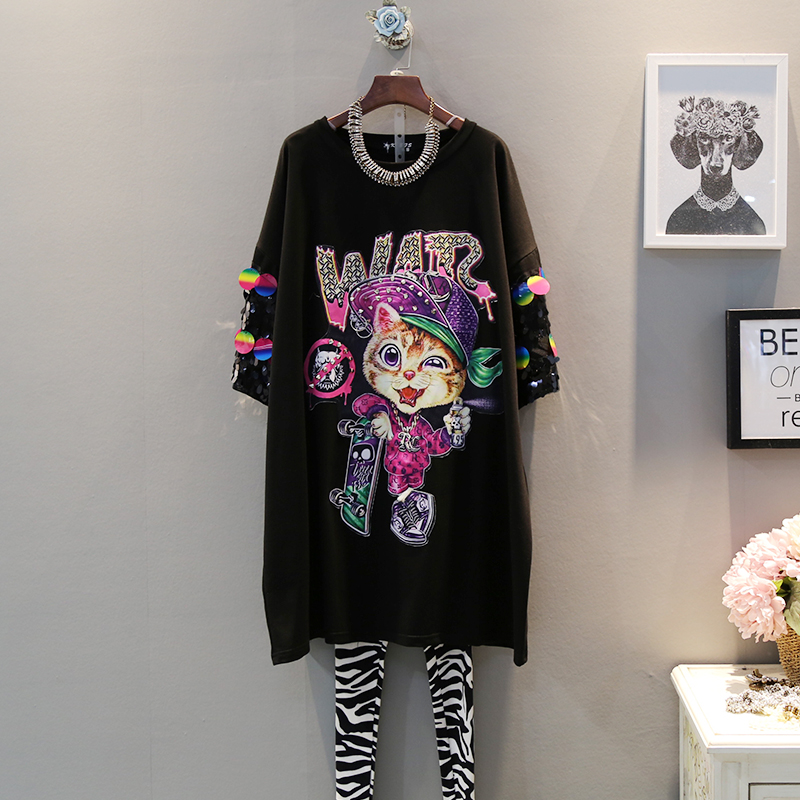 2019 summer new fashion sequins cat patch short sleeved round neck loose large size short sleeved dress female