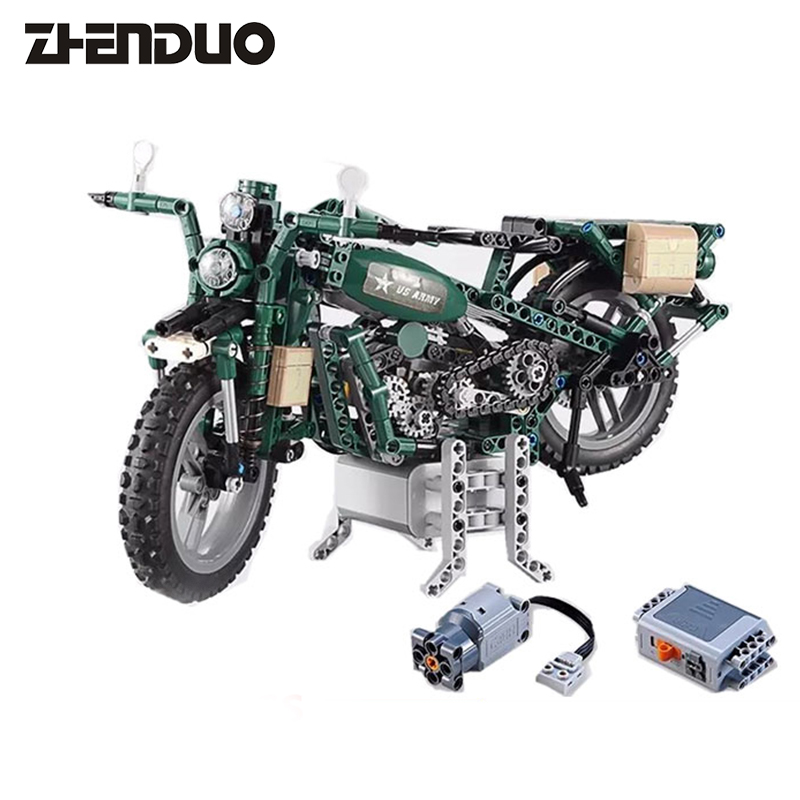 ZhenDuo Toys C51022 Military World War II Captain America Harley Electric Motorcycle Assembling Building Blocks Toy wl mini blocks captain america animal fruit intelligence model building nanoblock diy cute party supplies toy