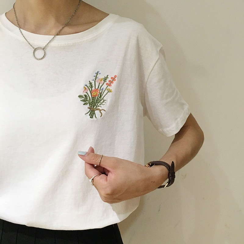 HTB16bEcNpXXXXavXpXXq6xXFXXXF - Japanese Brief Flower Embroidery Women T shirt PTC 346