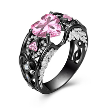 a suit of charming embellished hollow out rings for women Exquisite Love Heart Pink/Blue CZ Stone Ring Vintage Hollow Big Black Rings For Women Men Charming Finger Jewelry Gifts L4T288