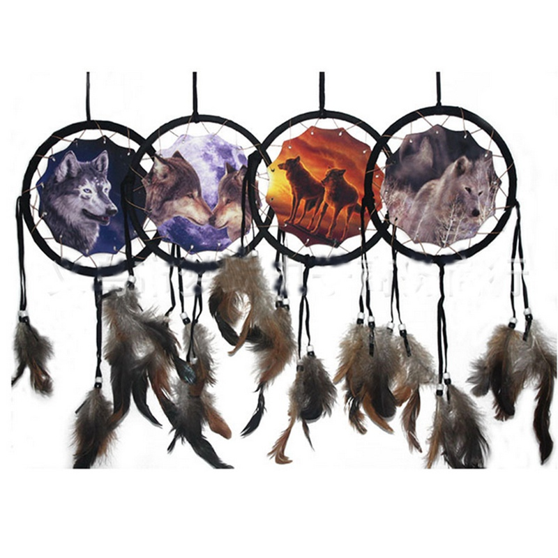 dreamcatcher wolves feathers white - photo #10