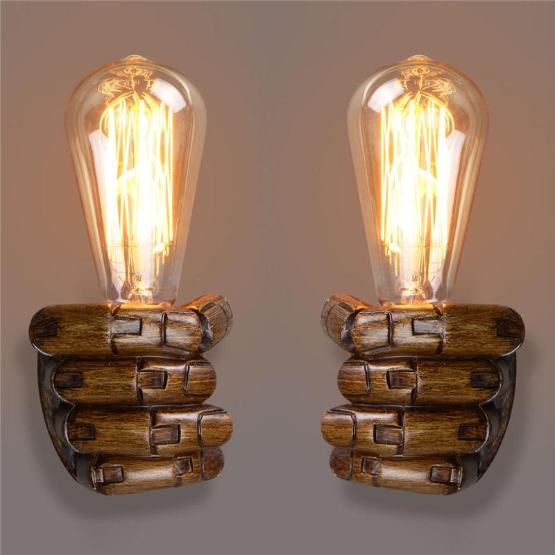mao esquerda para a direita do vintage noite parede de luz da lampada e27 edison lampadas