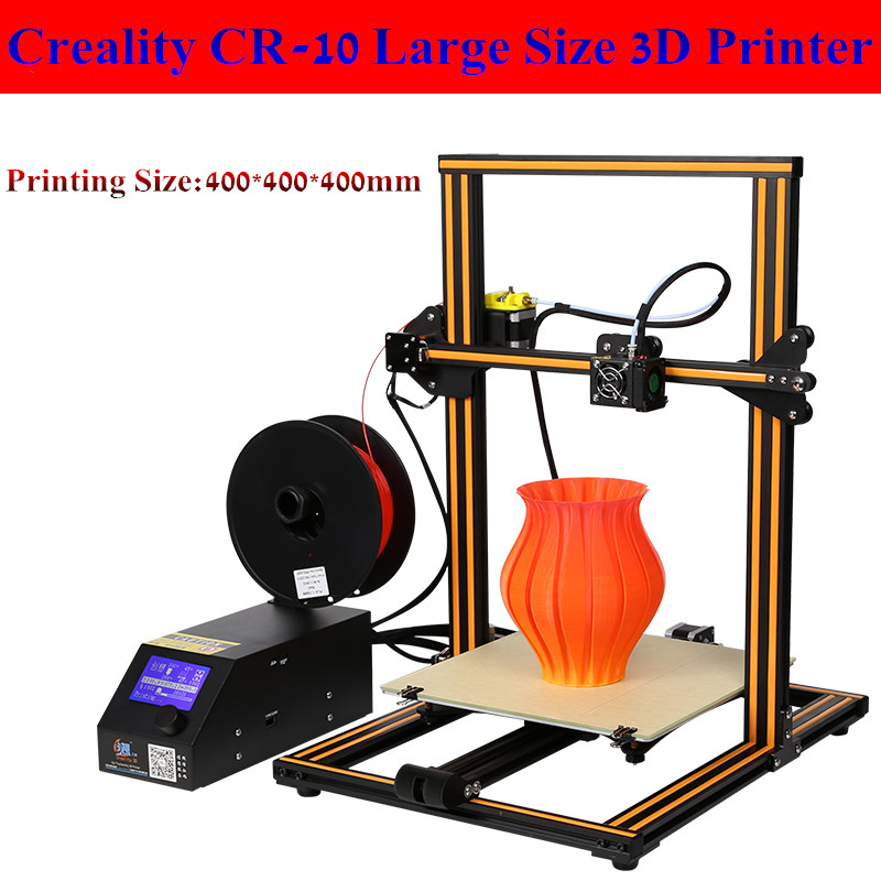 2017 New Max Size 400*400*400mm Creality CR10 3D Printer With Heated Bed 0.05mm High Precisio With Free Filament Free Shipping aluminum structrue made in china flsun 3d printer large size 260 260 350mm heated bed with two rolls filament sd card