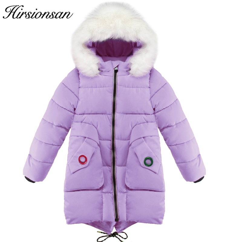 Hirsionsan Girls Winter Jacket Cute Big Pockets Cotton Coat 2017 New Warm Thick Leisure Long Hooded Fur Collar Jackets for Girls women winter coat leisure big yards hooded fur collar jacket thick warm cotton parkas new style female students overcoat ok238