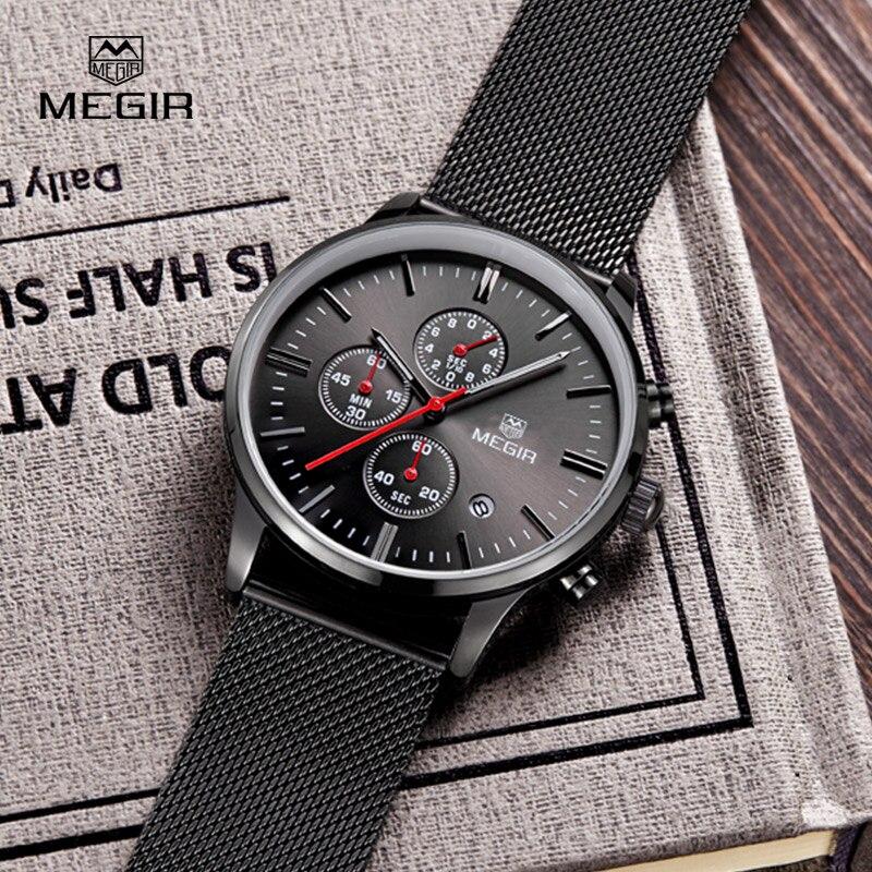 MEGIR Chronographe Hommes de Quartz-montre En Acier Inoxydable Maille Bande Or Montres Mince Hommes Montres Multi-fonction Sport montres
