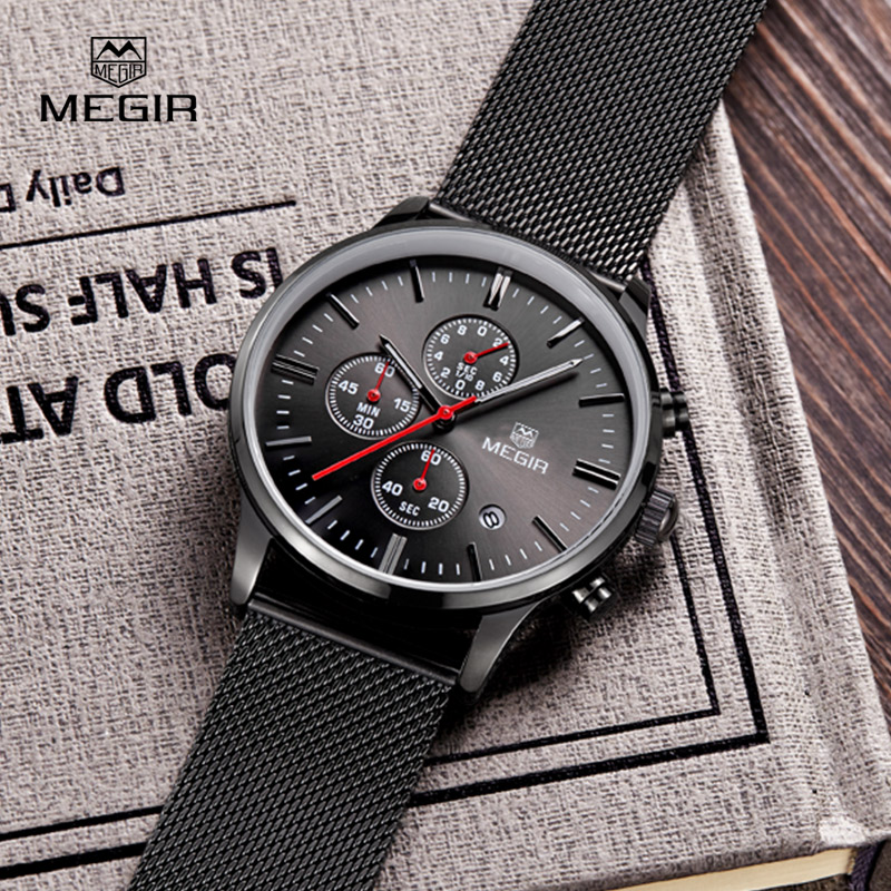 MEGIR Chronograph Mens Quartz-watch Stainless Steel Mesh Band Gold Watches Slim Men Watches Multi-function Sports Wristwatches
